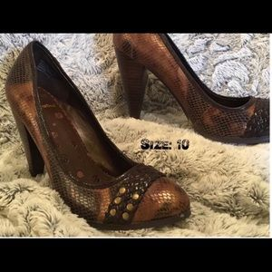 3 for $30 - Snakeskin bronze studded heels.
